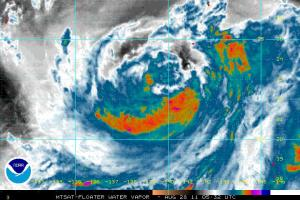 Colorierte Wasserdampf Satelittenaufnahme. Rot/Dunkelblau ist feucht/nass (Quelle: NOAA)